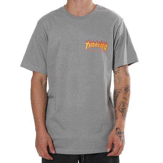 Camiseta Thrasher Flame Logo Button Cinza
