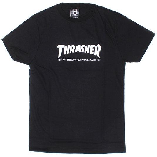 Camiseta Thrasher Jvenil Skateboard Magazine Logo Preto