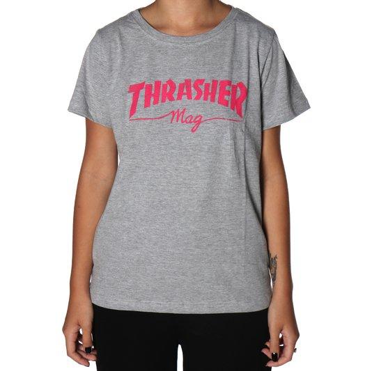 Camiseta Thrasher Mag Feminina Cinza Mescla