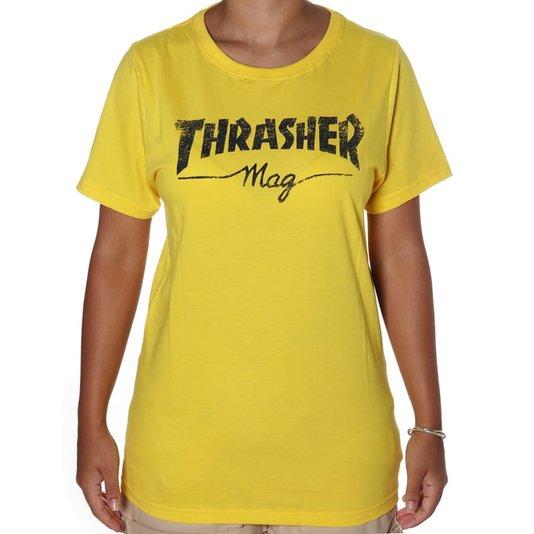 Camiseta Thrasher Mag Logo Girl Amarelo