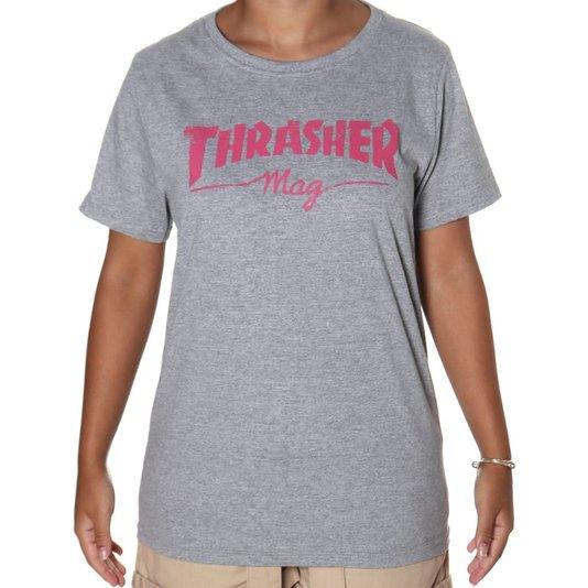 Camiseta Thrasher Mag Logo Girl Mescla/Rosa