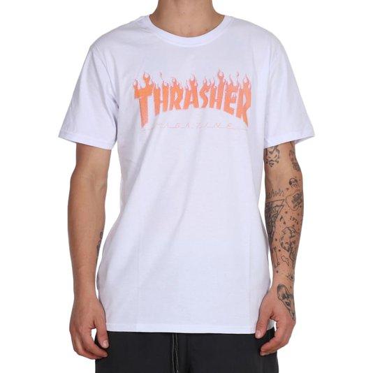 Camiseta Thrasher Magazine Flame Halftone Branco
