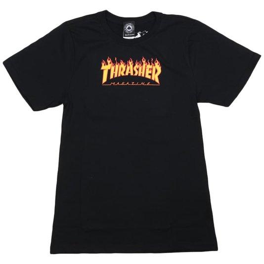 Camiseta Thrasher Magazine Flame Juvenil Preto