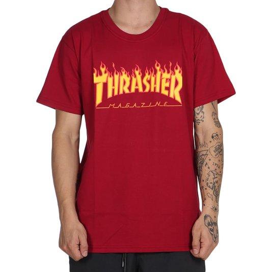 Camiseta Thrasher Magazine Flame Logo Bordo