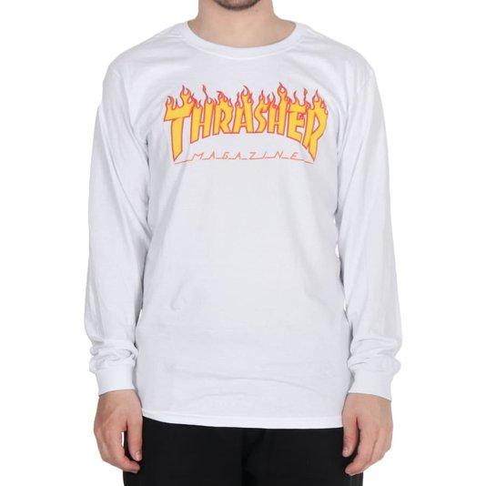 Camiseta Thrasher Magazine Flame Logo M/L Branco