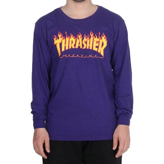 Camiseta Thrasher Magazine Flame Logo M/L Roxo