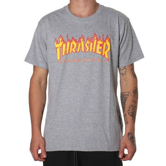 Camiseta Thrasher Magazine Flame Logo Mescla