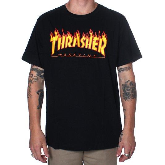 Camiseta Thrasher Magazine Flame Logo Preto