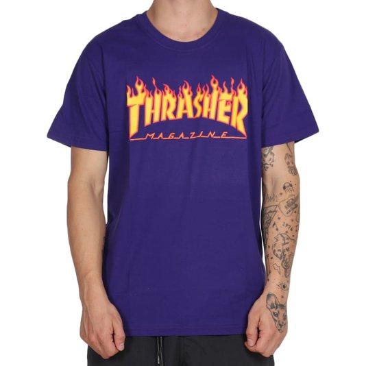 Camiseta Thrasher Magazine Flame Logo Roxo