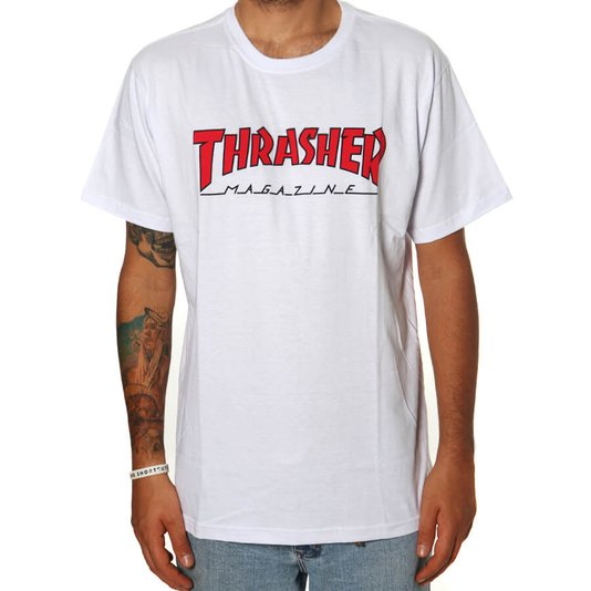 Camiseta Thrasher Magazine Outline Branco/Vermelho