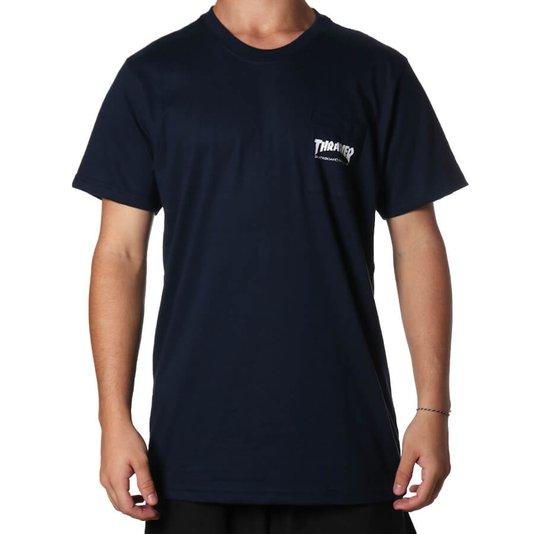 Camiseta Thrasher Magazine Pocket Logo Azul Marinho