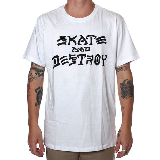 Camiseta Thrasher Magazine Skate And Destroy Branco