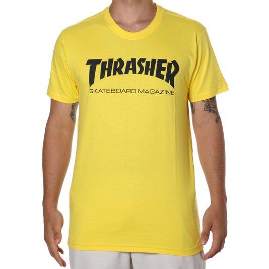 Camiseta Thrasher Magazine Skate Mag Amarelo Claro