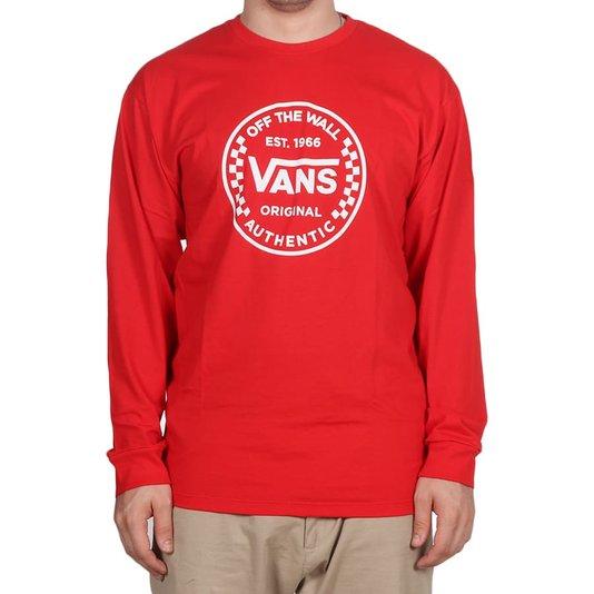Camiseta Vans Authentic Checker High Risk M/L Vermelho