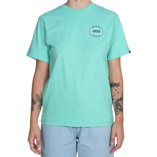 Camiseta Vans Authentic Checker Ss Juvenil Verde Agua