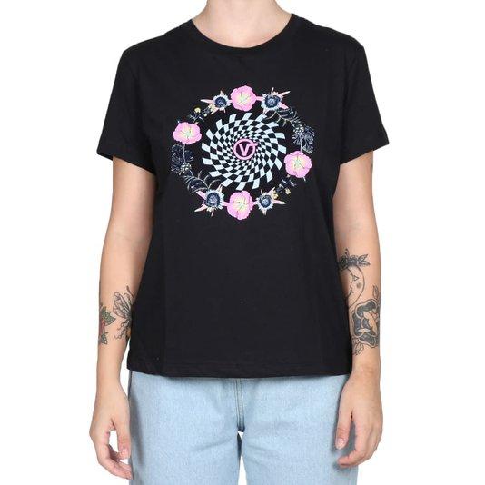 Camiseta Vans Circle Daze Crew Feminina Preto