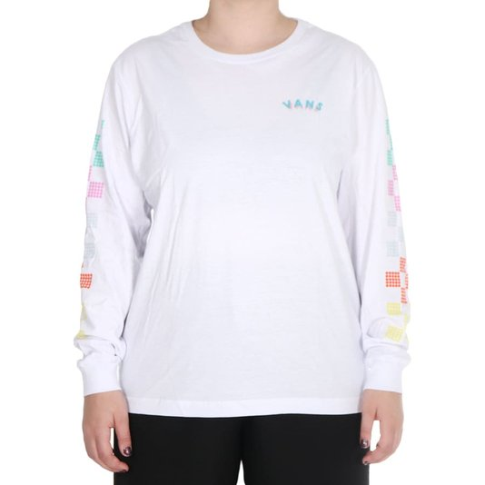 Camiseta Vans M/L Dotty Check Bf Feminina Branco
