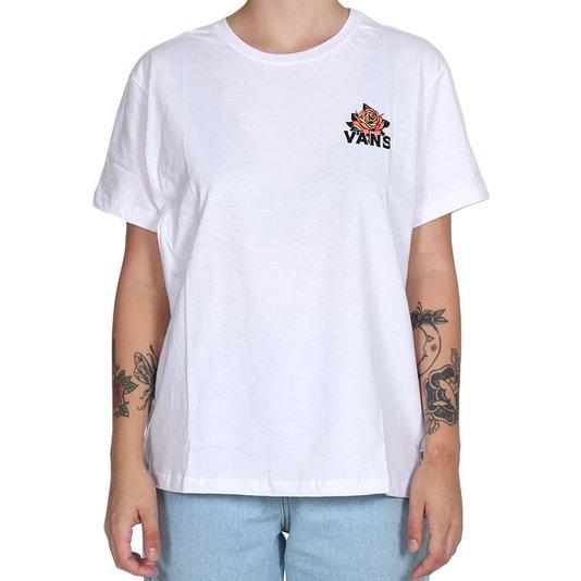 Camiseta Vans Trap Rose Feminina Branco