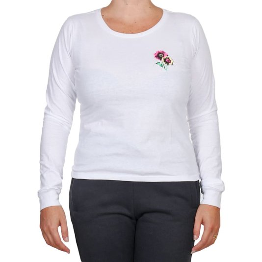 Camiseta Volcom Flower Stone M/L Feminina Branco