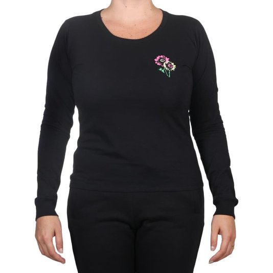 Camiseta Volcom Flower Stone M/L Feminina Preto