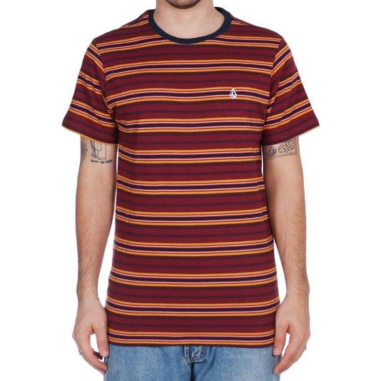 Camiseta Volcom Moorly Vinho/Azul Marinho/Mostarda