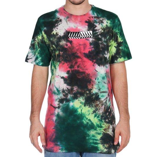 Camiseta Volcom Position Tie Dye Rosa/Verde/Preto