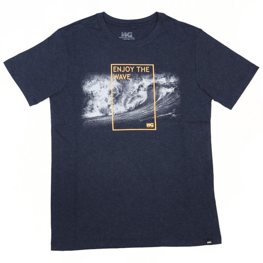 Camiseta Wave Giant Infanto - Juvenil Enjoy The Wave Azul Mescla
