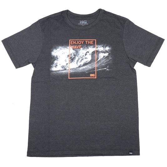 Camiseta Wave Giant Infanto - Juvenil Enjoy The Wave Cinza Mescla Escuro