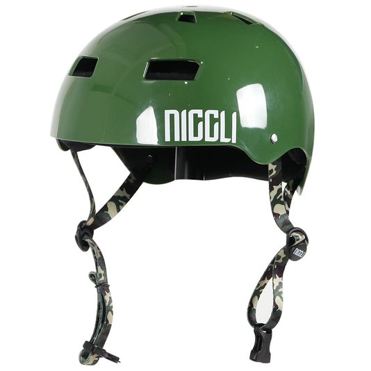 Capacete Niggli Pads Iron Pro Brilho Verde/Camuflado