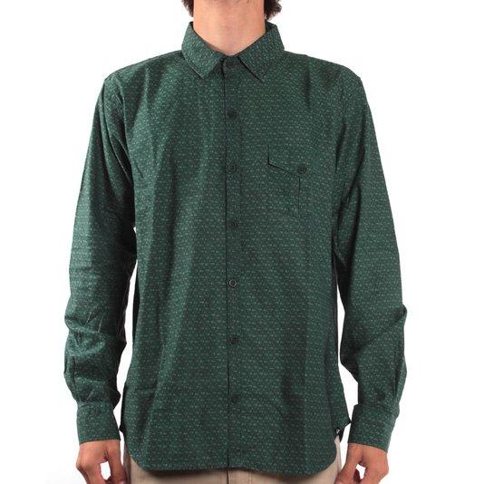 Camisa Quiksilver Manga Longa Mini Logos Verde Escuro
