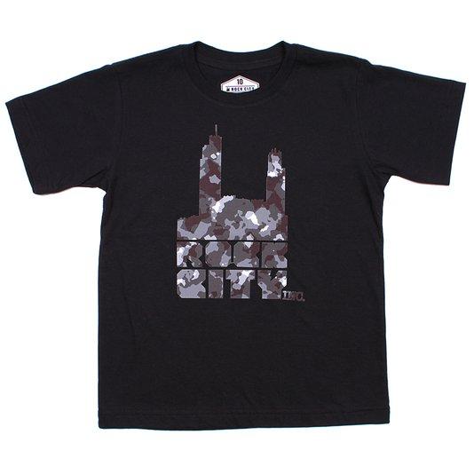 Camiseta Rock City Logo Camo Inf. Preto/Cinza