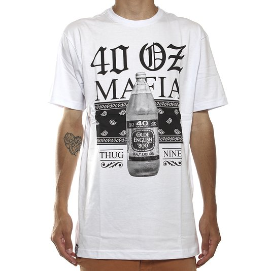 Camiseta Thug Nine 40 Oz Mafia Branco