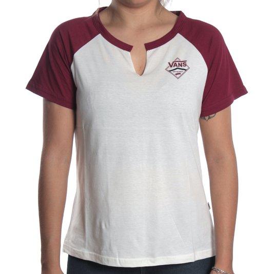 Camiseta Vans Raglan Side Stripe Creme/Bordo