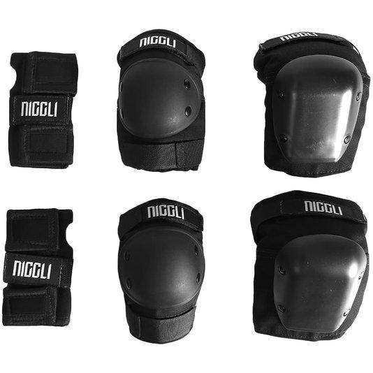 Kit De Proteção Niggli Pro Infantil Preto