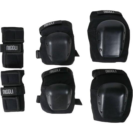 Kit De Proteção Niggli Pro Juvenil Preto