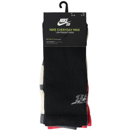 Meia Nike Everyday Max Lightweight Crew 3 Pack Cu6588-901 Preto/Creme/Vermelho