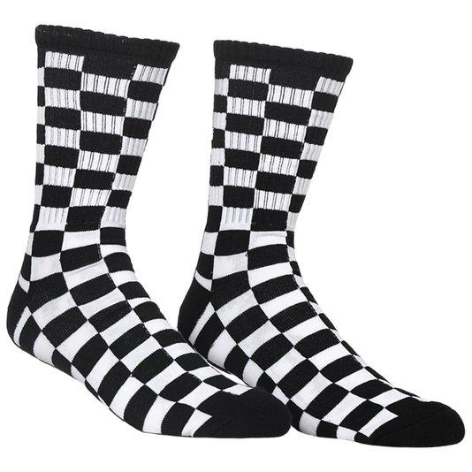 Meia Vans Checkerboard Cano Longo Preto/Branco