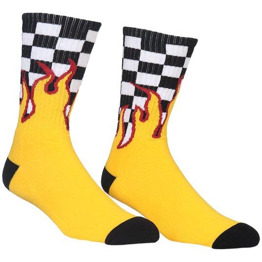 Meia Vans Checkerboard Preto/Branco/Amarelo
