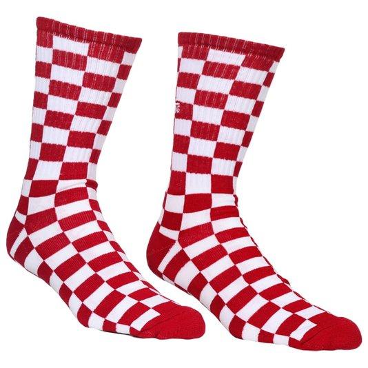 Meia Vans Checkerboard Vermelho/Branco