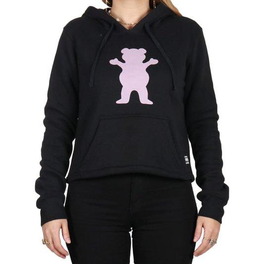 Moletom Grizzly Og Bear Hoodie Cropped Preto