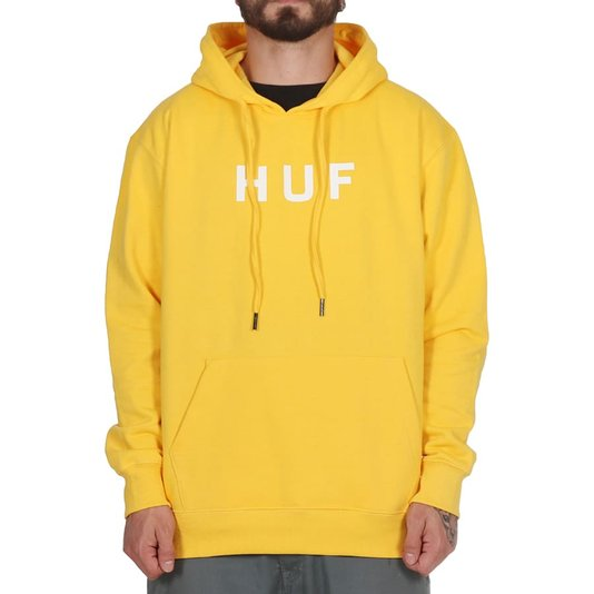 Moletom Huf Essentials Og Logo Canguru Amarelo