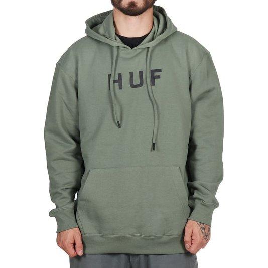 Moletom Huf Essentials Og Logo Canguru Verde