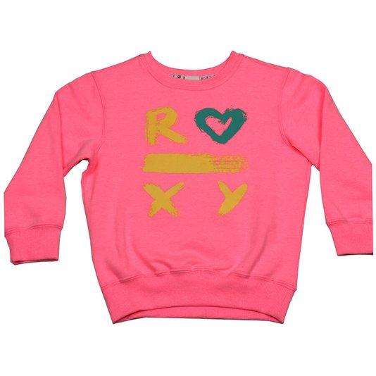Moletom Roxy Dot Roxy Infantil Rosa Neon