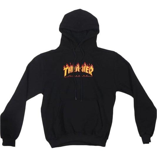 Moletom Thrasher Magazine Flame Logo Juvenil Preto