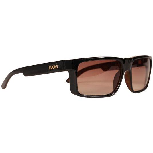 Óculos Evoke Shift W01 Black Shine Wood Brown Gold Marrom/Madeira