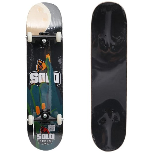 Skate Montado Solo Pro Moon Preto/Azul/Laranja