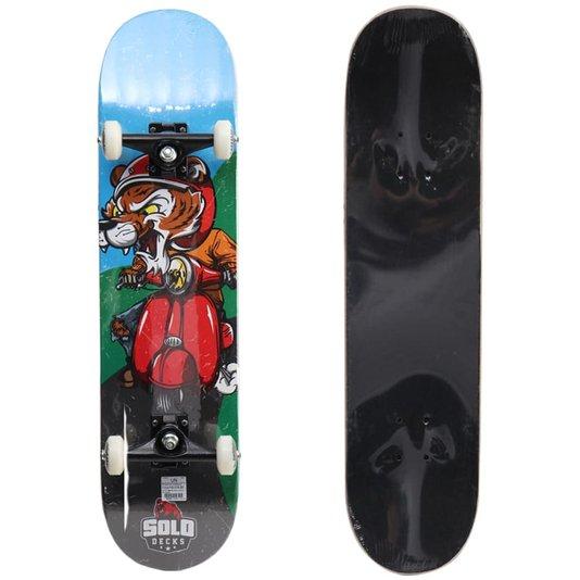 Skate Montado Solo Pro Mototiger Azul/Vermelho