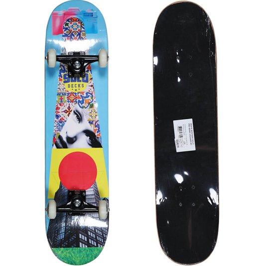 Skate Montado Solo Pro Serie Colagem III Azul