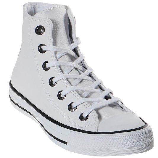 Tenis Converse Chuck Taylor All Star Couro Hi Branco/Preto