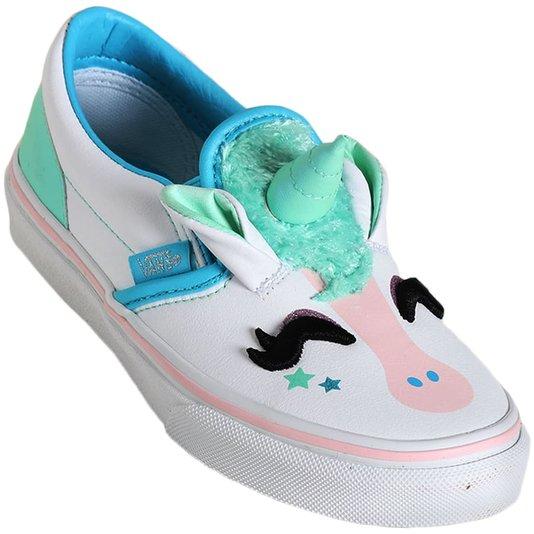 Tenis Vans Slip-On Unicorn Juvenil Branco/Azul Claro